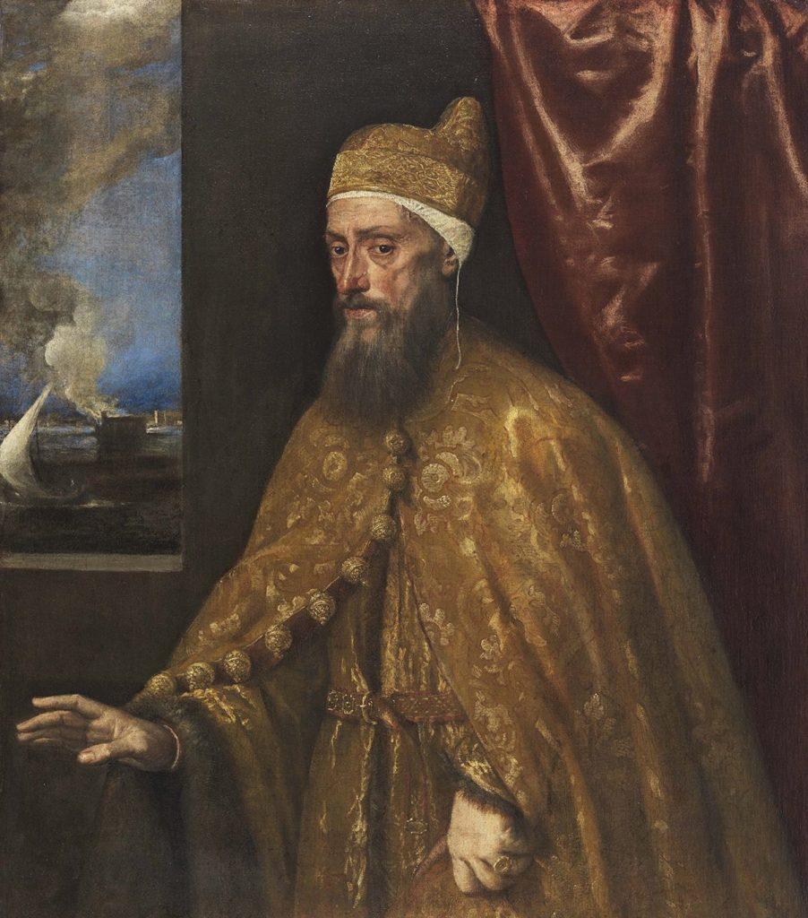 """Das """"Bildnis des Dogen Francesco Venier"""" ist eine Leihgabe des Museo Thyssen-Bornemisza in Madrid und gehört zu Tizians bekanntesten Werken. Es entstand im Jahre 1555."""