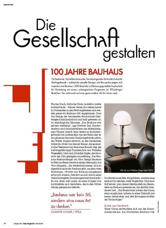 100 Jahre Bauhaus, Top Magazin Frankfurt, Ausgabe Frühjahr 2019