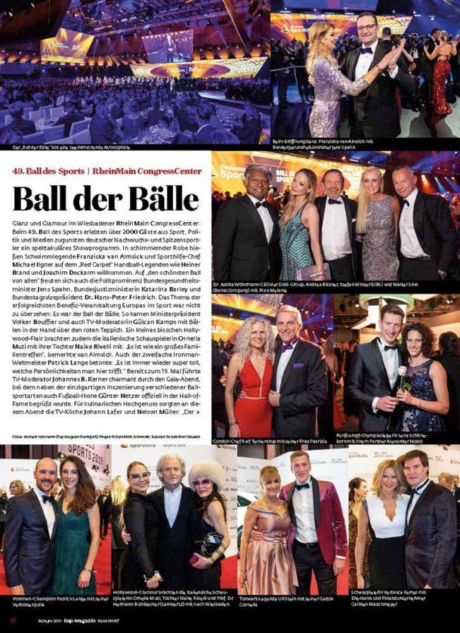 Ball des Sports, Top Magazin Frankfurt, Ausgabe Frühjahr 2019