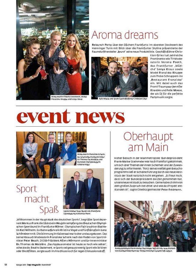 Event News, Top Magazin Frankfurt, Ausgabe Frühjahr 2019