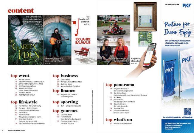 Inhaltsverzeichnis, Top Magazin Frankfurt, Ausgabe Frühjahr 2019