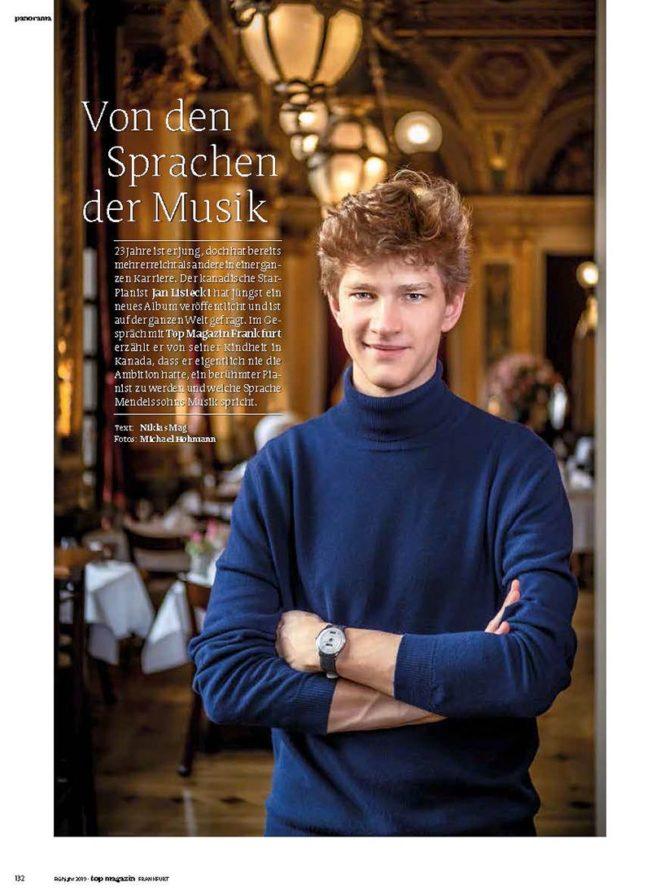 Jan Lisiecki, Top Magazin Frankfurt, Ausgabe Frühjahr 2019