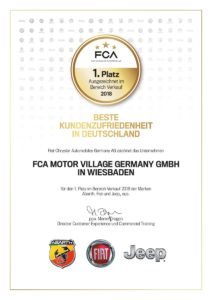 Auszeichnung für beste Kundenzufriedenheit bei den Marken Abarth, Fiat und Jeep