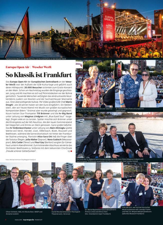 Top Magazin Frankfurt, Ausgabe Herbst 2019, EZB Europa Open Air