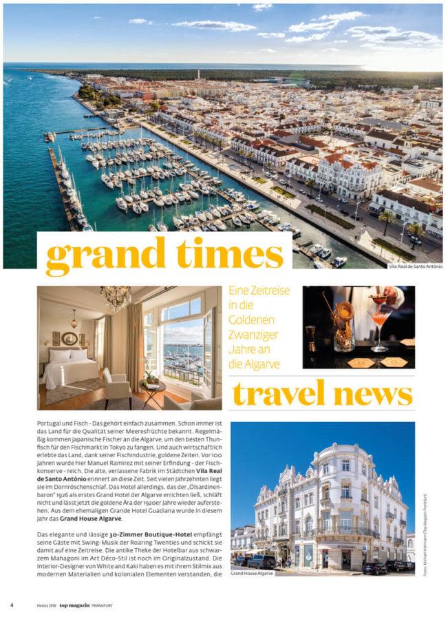Top Magazin Frankfurt, Ausgabe Herbst 2019, Travel News