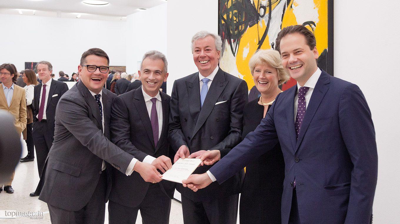 Wissenschafts- und Kunstminister Boris Rhein, OB Peter Feldmann, Prof. Dr. Nikolaus Schweickart, Staatsministerin Monika Grütters und Städeldirektor Max Hollein (2015)