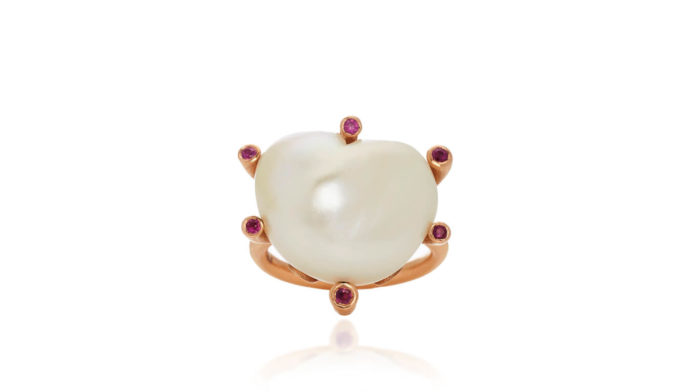 Heart Shaped Pearl Ring With Rubies by Christina Alexiou