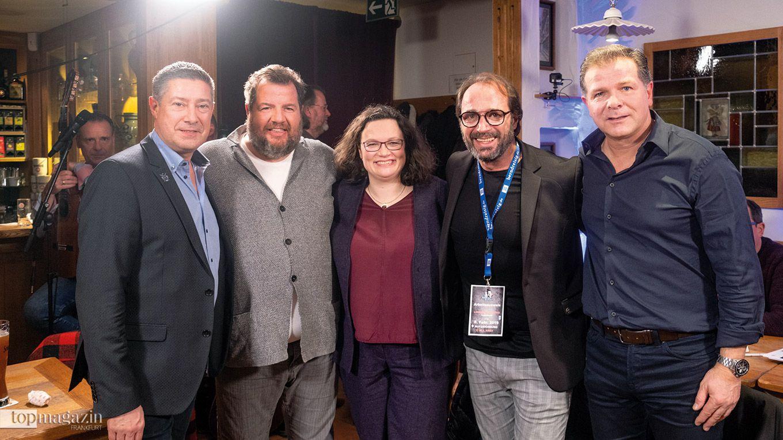 Let's Dance-Juror Joachim Llambi, Bernd Reisig, SPD-Chefin Andrea Nahles, Christian Dressler und Ex-Fußballer Andy Möller