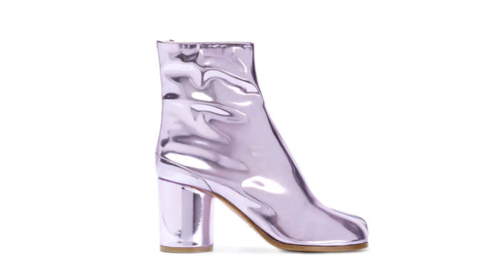 Purple Laminated Tabi Boots by Maison Margiela