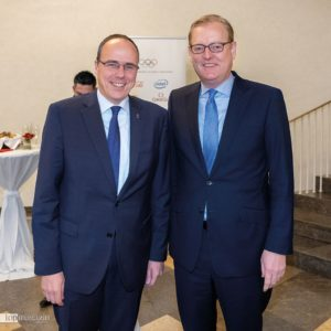 Sportminister Peter Beuth mit Frankfurts Sportdezernent Markus Frank