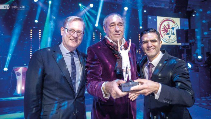 Stadtrat Markus Frank, Eintracht-Präsident Peter Fischer und Makkabi-Präsident Alon Meyer