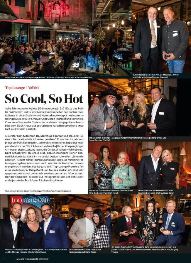 Top Magazin Frankfurt, Ausgabe Frühjahr 2020 - Top Lounge im VaiVai