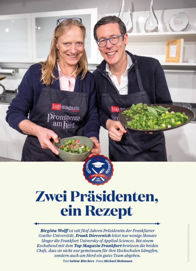 Top Magazin Frankfurt, Ausgabe Frühjahr 2020 - Universitätspräsidenten am Herd