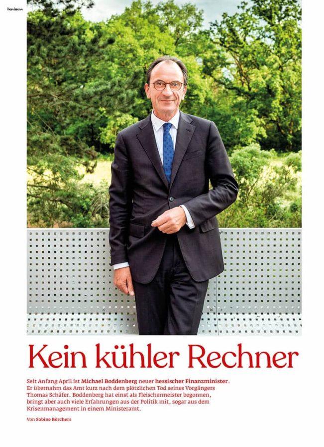 Top Magazin Frankfurt, Sommer 2020, Portrait Finanzminister Boddenberg
