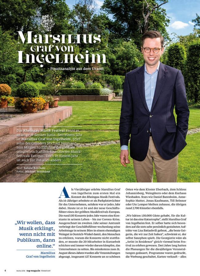 Top Magazin Frankfurt, Sommer 2020, Portrait Marsilius Graf von Ingelheim