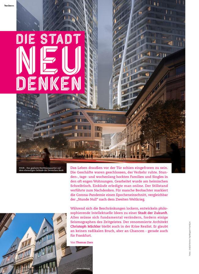 Top Magazin Frankfurt, Sommer 2020, Stadtentwicklung Christoph Mäcker