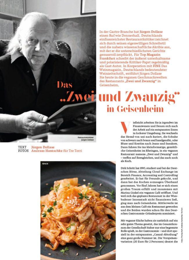 Top Magazin Frankfurt, Herbst 2020, Jürgen Dollase Zwei und Zwanzig