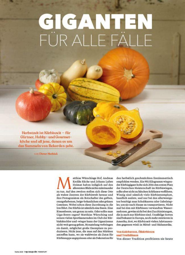 Top Magazin Frankfurt, Herbst 2020, Kürbis