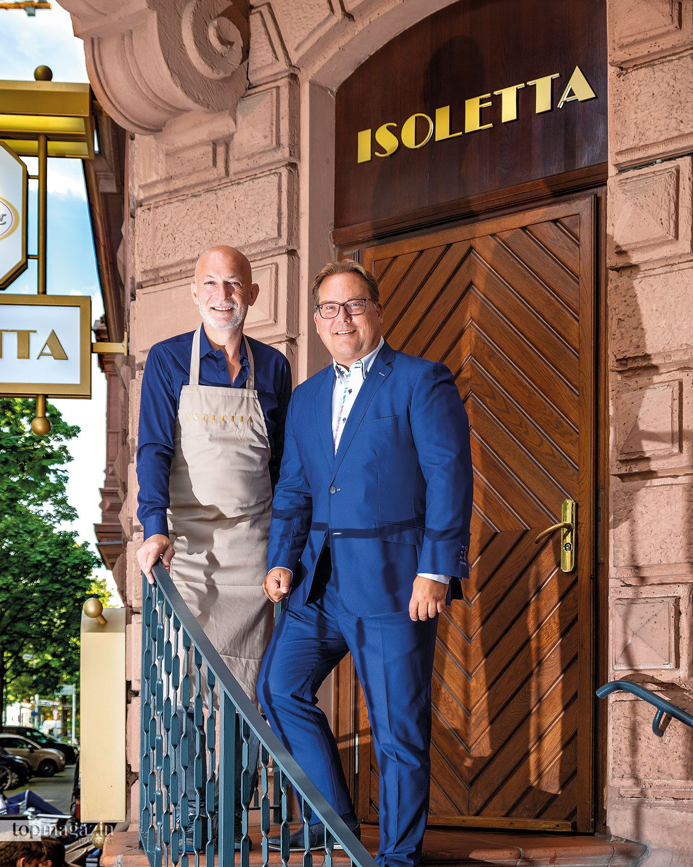 Ciro Cavallo und Michael Schramm vor dem Isoletta auf der Feldbergstraße