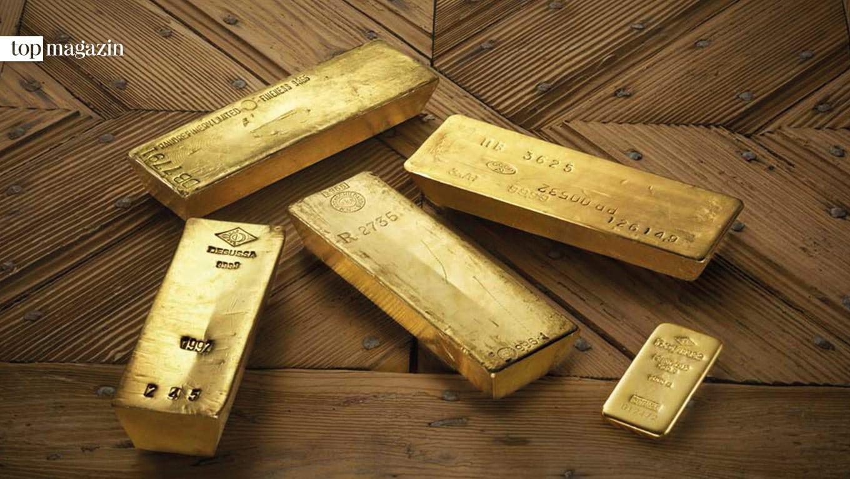 Goldbarren der legendären Rothschild-Sammlung in der Goldkammer