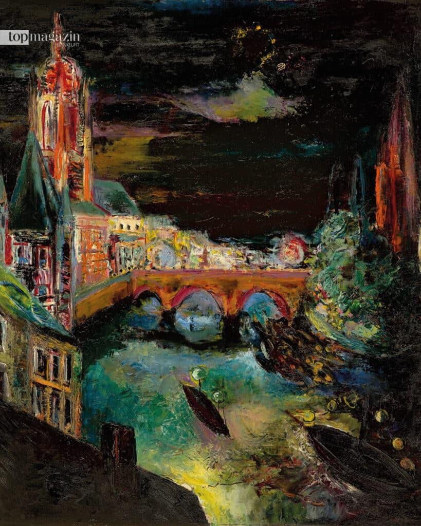 """""""Frankfurt am Main bei Nacht"""" Ölgemälde von Hans Ludwig Katz (um 1930_33)"""
