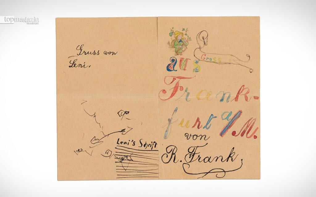 Grußkarte der vier Kinder Robert, Otto, Herbert und Leni Frank um 1895