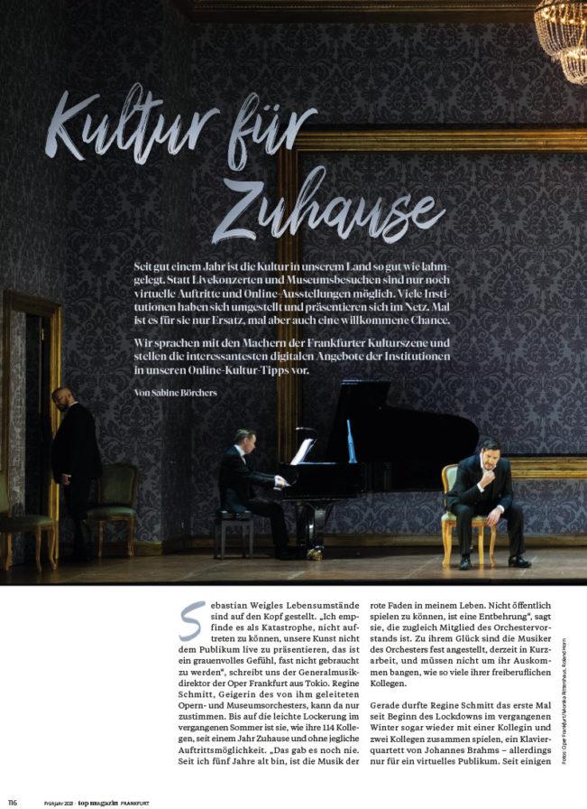 Top Magazin Ausgabe Frühjahr 2021 - Kultur für Zuhause