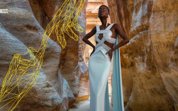 Die digitale Muse von Ralph & Russo Hauli in der Felsenstadt Petra in Jordanien