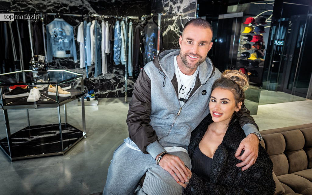 Plein mit Freundin Lucia Bartoli im neuen Flagship Store