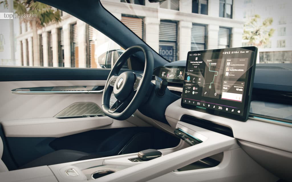 Das Crossover-Coupé Zeekr 001 ist mit einer Cockpit-Landschaft aus verschiedenen Displays und Touchscreens ausgestattet
