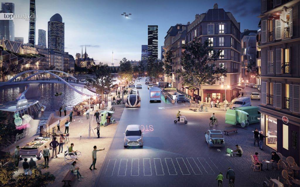 Das Essen wird per Drohne in den dritten Stock geliefert und der Fußgänger am Zebrastreifen stoppt das autonom gesteuerte Auto selbst – so sieht für Mercedes die Zukunft aus