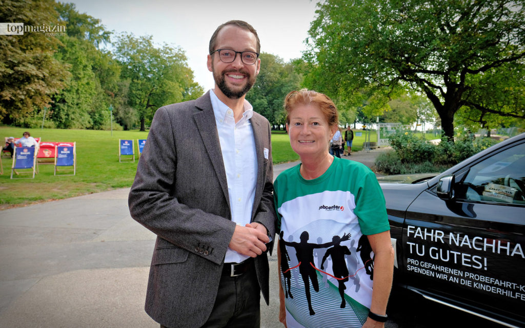 Joggte zufällig vorbei – Stadträtin Daniela Birkenfeld plauderte spontan mit Stadtrat a.D. Jan Schneider.