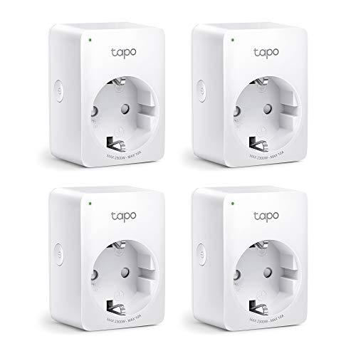 TP-Link Tapo WLAN Smart Steckdose Tapo P100, Smart Home WiFi Steckdose, Alexa Zubehör 4er pack, funktioniert mit Alexa, Google Home, Tapo App, Sprachsteuerung, Fernzugriff, Kein Hub notwendig, Mini