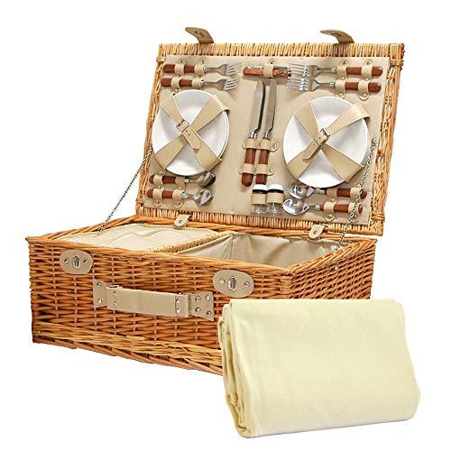Luxuriöser Weiden Picknickkorb 'Sutton' für 4 Personen - Mit Cremefarbener Fleece Decke und integriertem Kühlfach